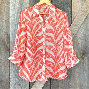 Chico's button down shirt with 3/4 length sleeves